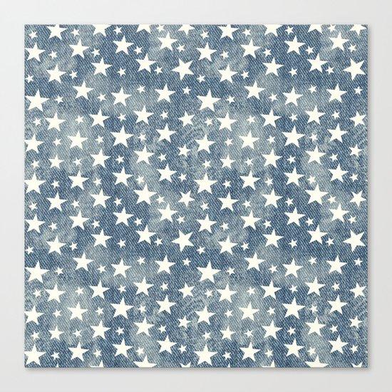 Stars with denim effect Canvas Print