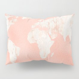 Pink Rose Gold World Map Pillow Sham