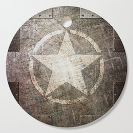 Army Star on Distressed Riveted Metal Door Cutting Board