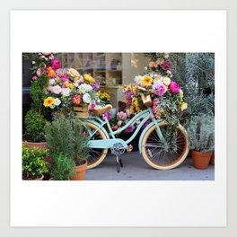 Vintage Bicycle Adorned With Flowers Art Print