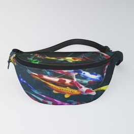 Vibrant Blue, Red, & Gold Koi Amid the Lotus Flowers Painting by Jeanpaul Ferro Fanny Pack