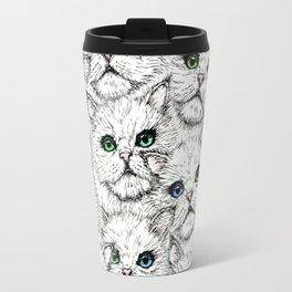 White Kitty Faces Travel Mug