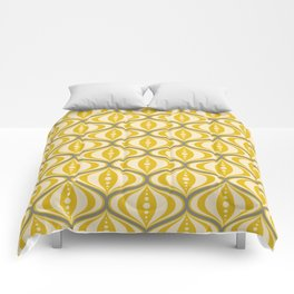 Retro Mid-Century Saucer Pattern in Yellow, Gray, Cream Comforters