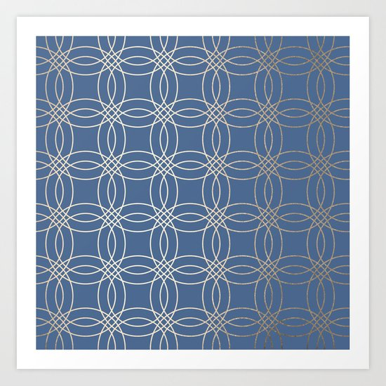 Simply Vintage Link in White Gold Sands and Aegean Blue Art Print