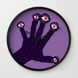 Weird Hand With Watching Eyes Wall Clock