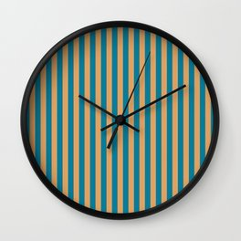 Laguna Blue and Mango Stripes Wall Clock