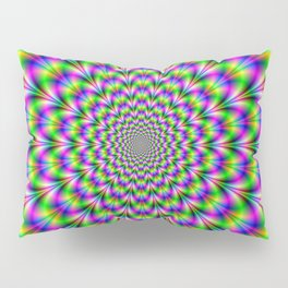 Neon Rosette in Pink Green and Blue Pillow Sham