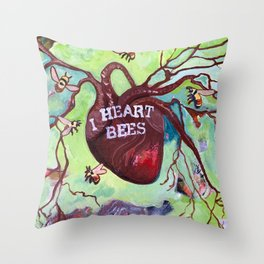 I Heart Bees Throw Pillow