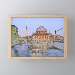 Berlin Spree Bode Museum and Alexander tower Framed Mini Art Print