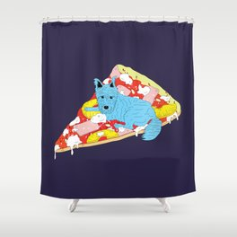 Pizza Dog Shower Curtain