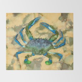 Blue Crab - Alcohol Ink Throw Blanket