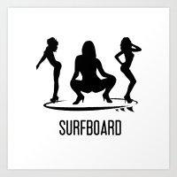 surfboard Art Prints featuring surfboard by August Riche