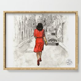 Woman in Red Dress Serving Tray