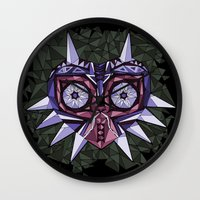 majoras mask Wall Clocks featuring Triangle Majora's Mask by NeleVdM