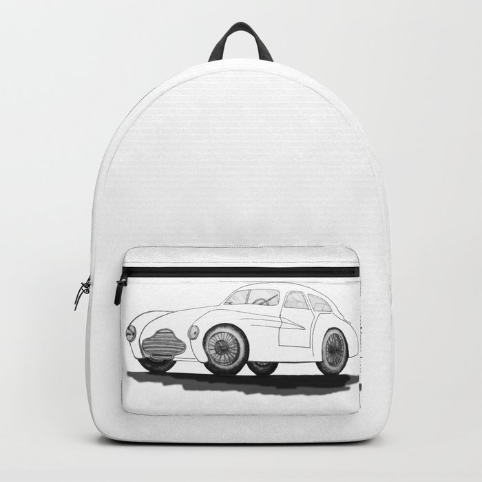 retro car on white background Backpack
