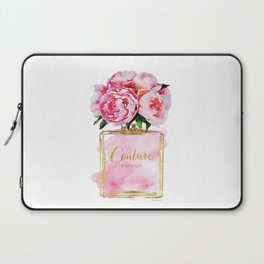 Perfume bottle with flowers, Peony, Peonies, Pink, gold, watercolor, Perfume, Pink, Gold ,Fashion Laptop Sleeve