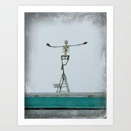 Skeleton on the Roof 2 Art Print