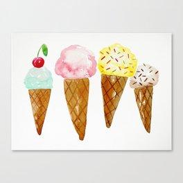 Ice Creams, Watercolor Ice Creams Canvas Print
