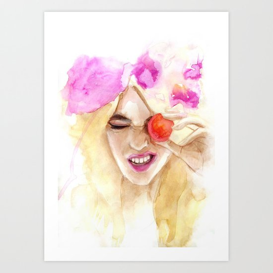 Watercolor girl with macaroon Art Print