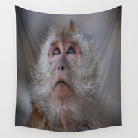 monkey Wall Tapestries featuring monkey by David Stone