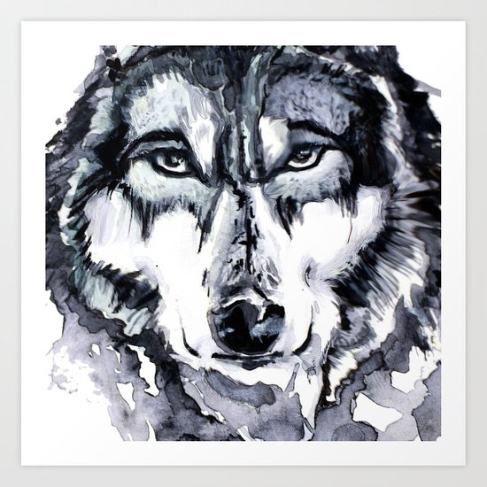 Abstract Wolf - Zoomed Art Print