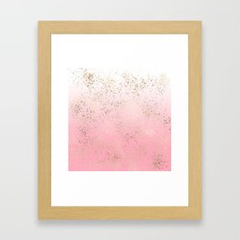Pink White Ombre Speckled Gold Flakes Framed Art Print