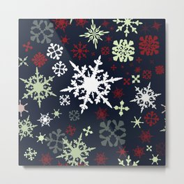 Christmas pattern with snowflakes Metal Print