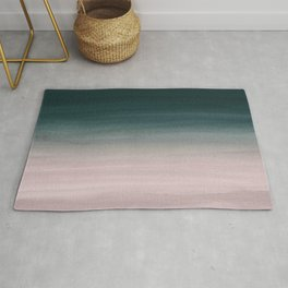 Touching Teal Blush Watercolor Abstract #1 #painting #decor #art #society6 Rug
