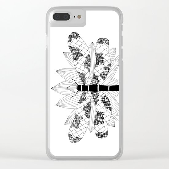 Dragonfly Over Lotus Clear iPhone Case