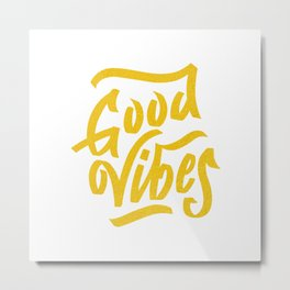 Good Vibes, white & gold lettering Metal Print