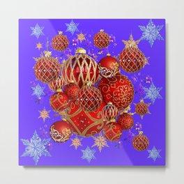 RED CHRISTMAS HOLIDAY PURPLE SNOWFLAKES ART Metal Print