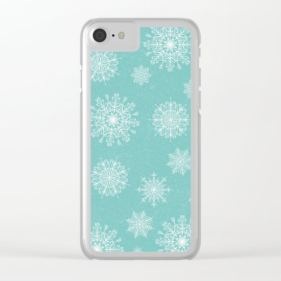 Assorted Snowflakes On Turquoise Backround Clear iPhone Case