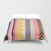 tape Duvet Covers featuring Washi Tape by Louise Machado