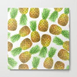 Pineapple watercolor pattern Metal Print
