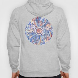 Boho Flower Burst in Red and Blue Hoody