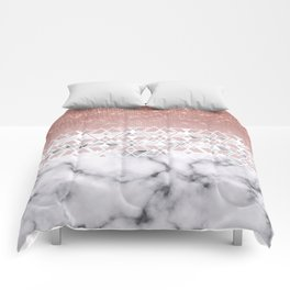 Modern Rose Gold White Marble Geometric Ombre Comforters