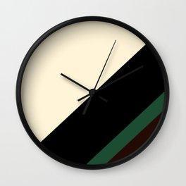 Modern Black Cream and Green Stripe Pattern Wall Clock