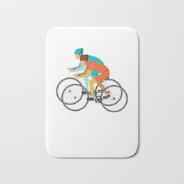 Biker Bike Bicycle Cyclist BMX Bicycling Cycling Exercise Workout Pedal Gift Bath Mat