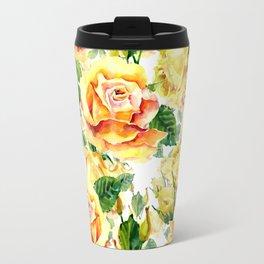 Orange yellow watercolor hand painted roses floral pattern Travel Mug