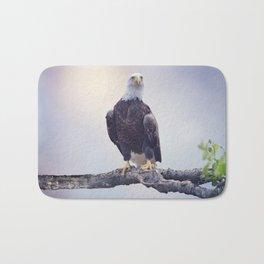 American Bald Eagle Perching on a tree Bath Mat