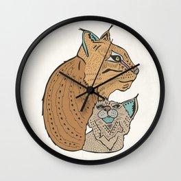 Mama And Baby Lynx Wall Clock