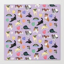 Valentine's Day Candy Hearts Puppy Love - Purple Canvas Print