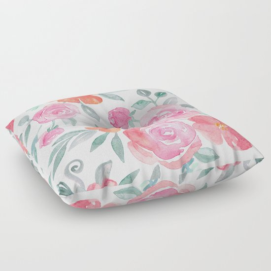 Light Pink Floor Pillows : Amelia Floral in Pink and Peach Watercolor Floor Pillow by Micklyn Society6