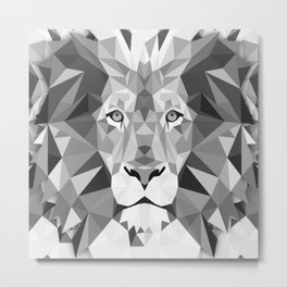 Large Silver Lion Head Metal Print