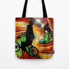 BMXers in Red and Orange Grunge Swirls Tote Bag