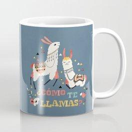Como te Llamas. Funny Spanish Word Humor. Flowers and two Llamas Coffee Mug