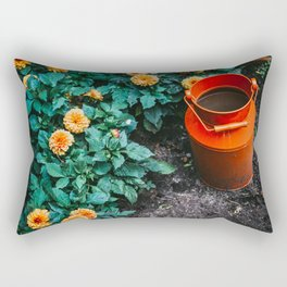 Milk Can and Orange Flowers Rectangular Pillow