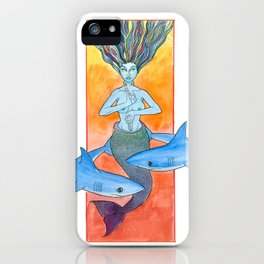 mermaid and sharks iPhone Case