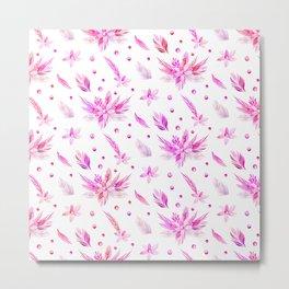 Neon pink watercolor floral polka dots pattern. Metal Print