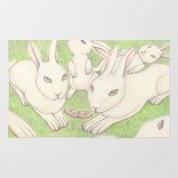 bunnies Area & Throw Rugs featuring Bunnies by Adi Yochalis